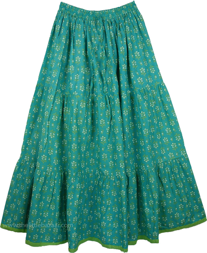 Cotton Printed Long Skirt in Fern , Aqua Forest Cotton Print Long Skirt