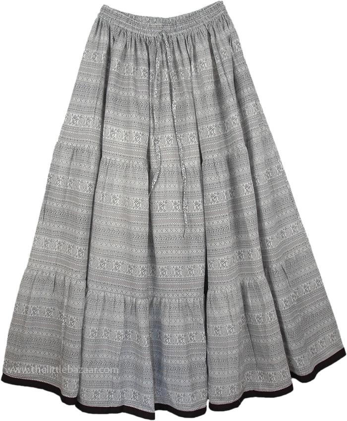 White Black Patterned Long Skirt, Black White Everyday Cotton Paisley Skirt