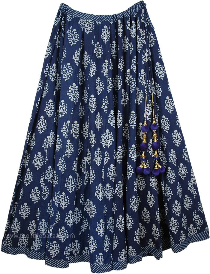 Lehenga Style Summer Skirt with Tassels, Blue Zodiac Full Circle Persian Skirt