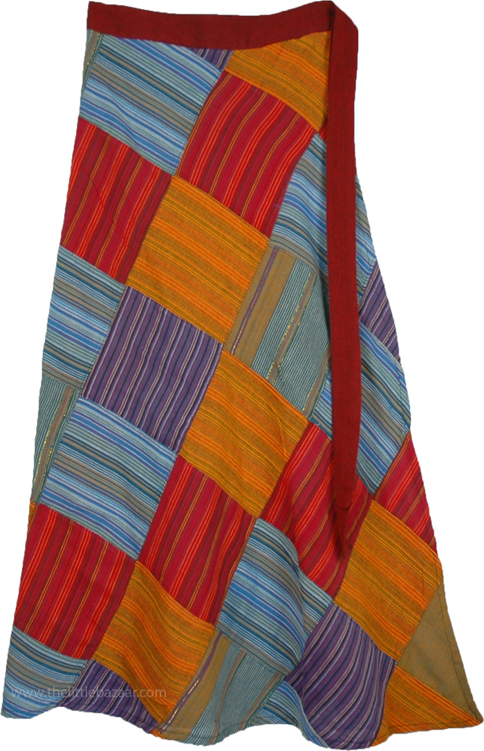 Hippie Skirt with Stripes Patchwork, Groovy Colorful Patchwork Wrap Around Skirt
