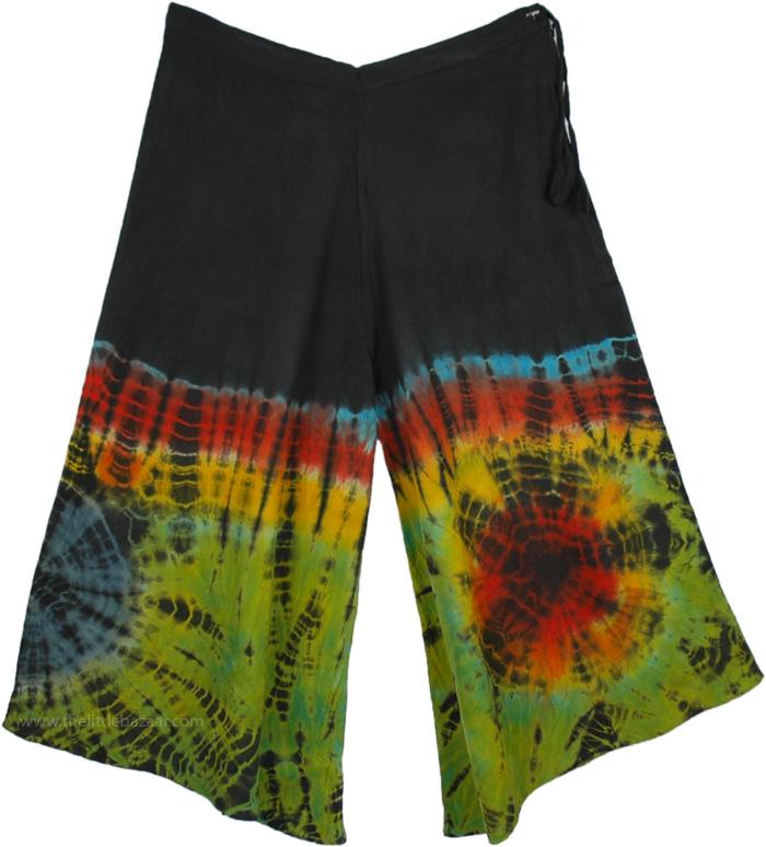 Summer Gauchos Pants, Gaucho Pant in Tie Dye
