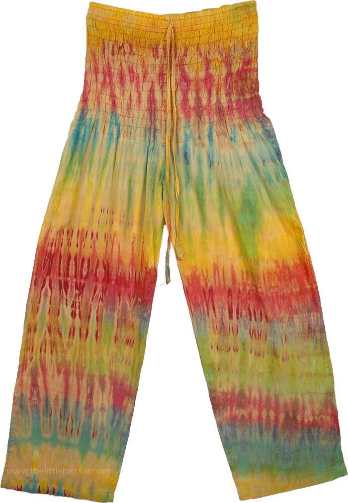 Tie Dye Smocked Waist Yoga Pants, Smocked Waist Tie Dye Summer Trouser