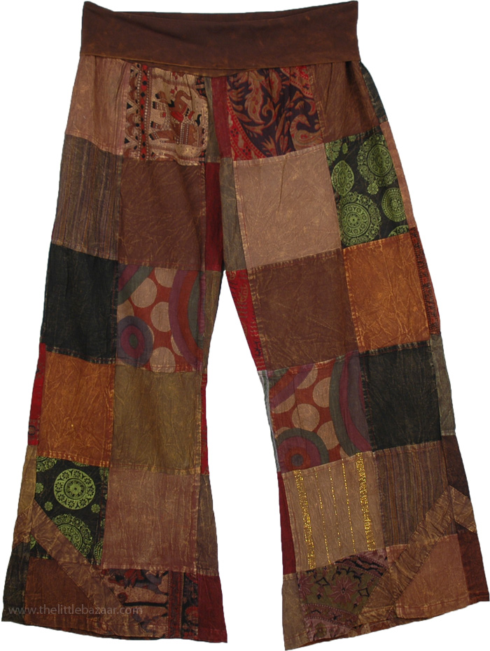 Yoga Pants Cotton Patchwork, Yajna Patchwork Lounge Pants