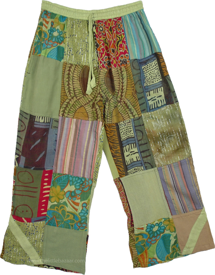 Boho Trousers Cotton Patchwork Green Tones, Green Amber Patchwork Lounge Trousers