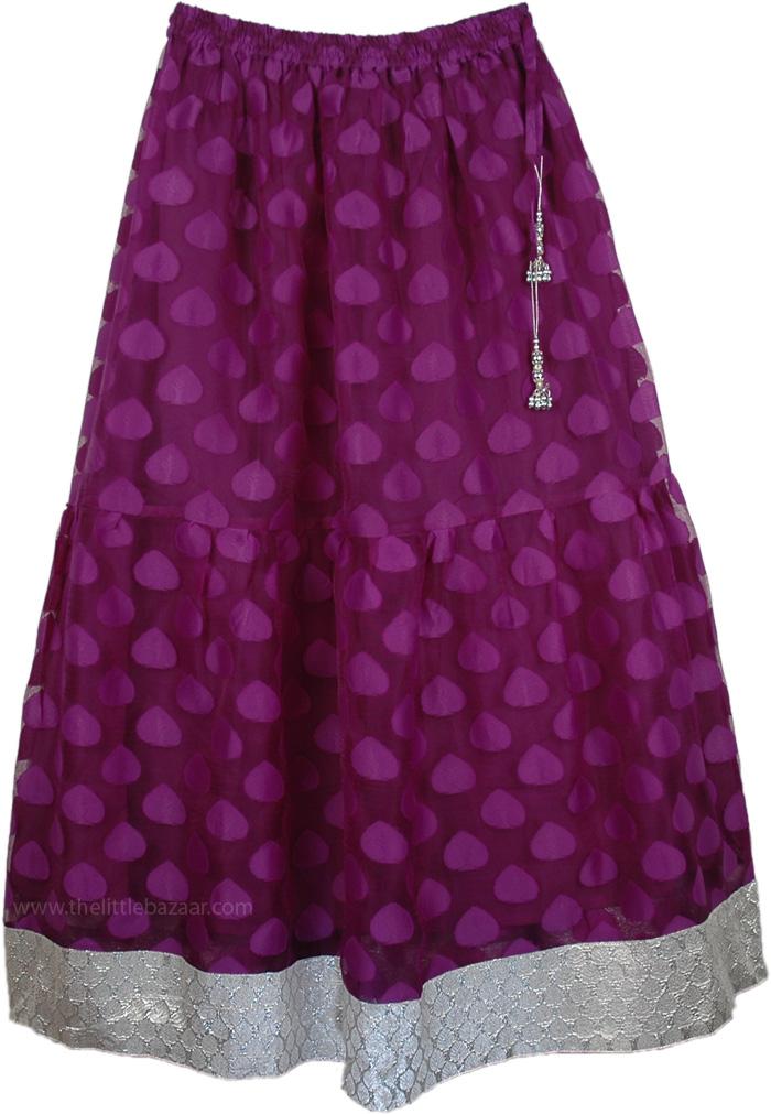 Royal Princessa Party Long Skirt, The Loulou Long Mesh Skirt with Silver Hem