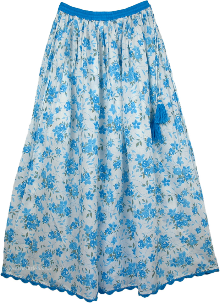 Blue Floral Cotton Printed Long Skirt, Hydrangea Blue Cotton Long Summer Skirt