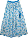 Blue Floral Cotton Printed Long Skirt [4256]