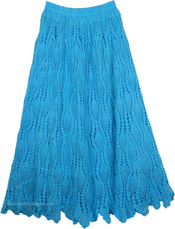 Blue Horizon Crochet Long Skirt , Picton Blue Long Skirt All Crochet Pattern