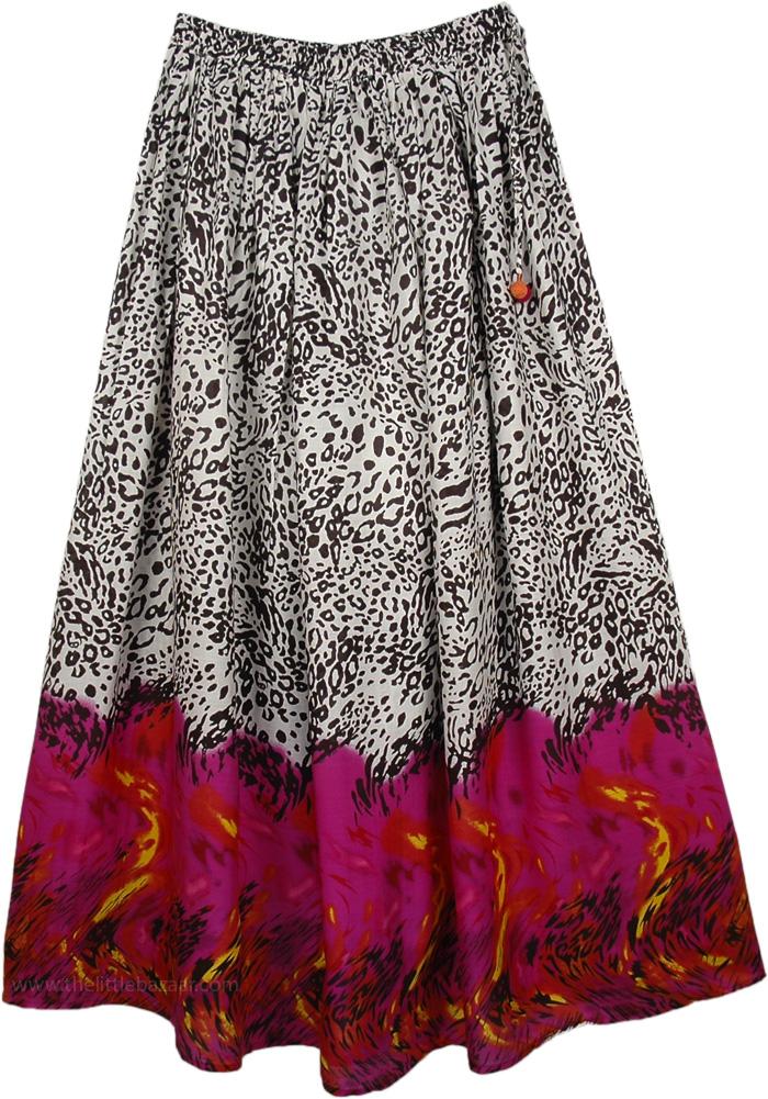 Tall Printed Skirt for Women Boho Charm, Animal Printed Tall Summer Skirt