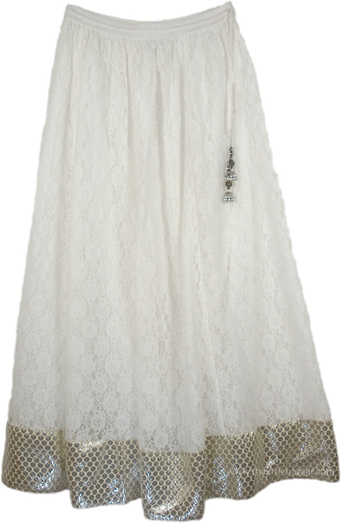 Maharani Lace Summer Long Skirt, Gentle Peace Lace Skirt in White