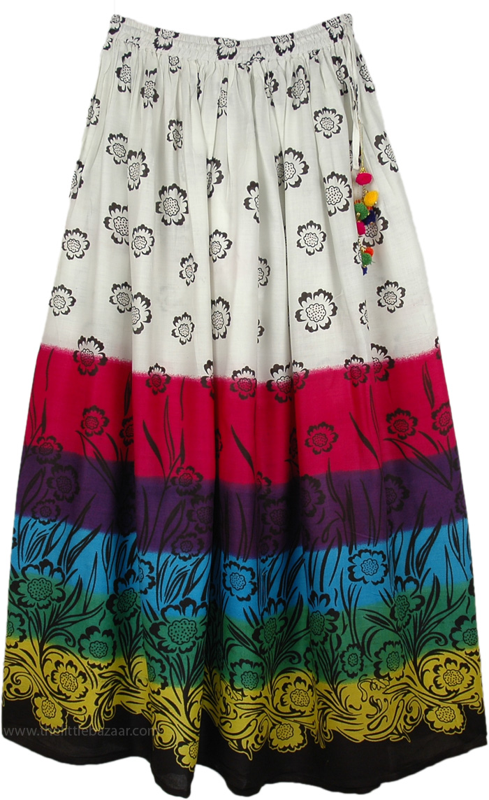 Floral Cotton Summer Skirt, Bohemian Floral Cotton Summer Tall Skirt