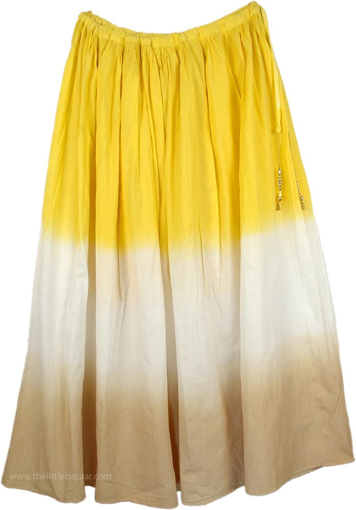 Yellow White Brown Skirt with Tassels, Golden Dream Cotton Spring Skirt