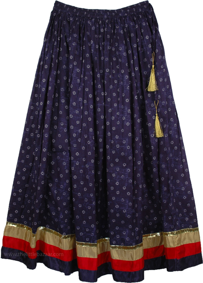 The Blue Princessa Skirt, Martinique Printed Skirt with Solid Border