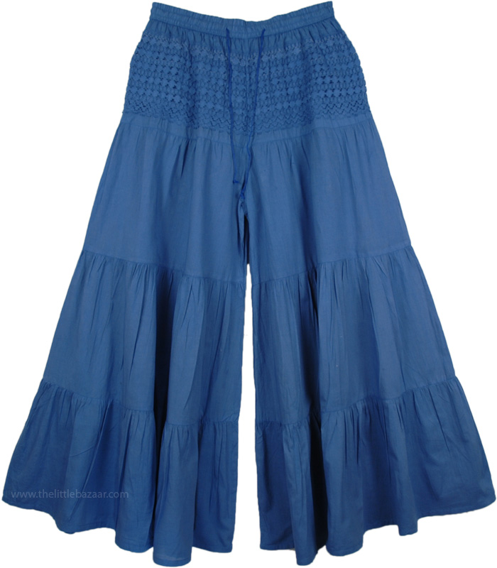Blue Split Pant Skirts, San Marino Palazzo Britches Split Skirt