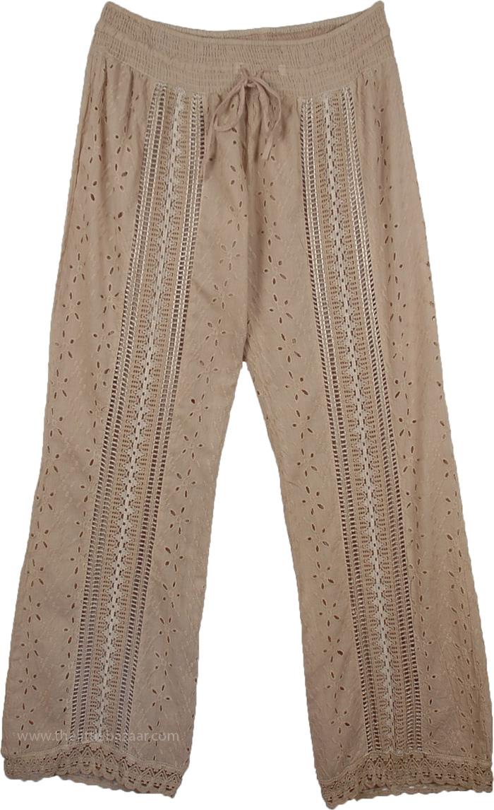 Cotton Eyelet Sand Pant, Eyelet Lace Sandrift Womens Pant