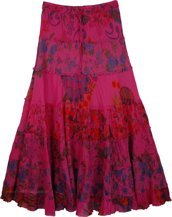 Layered Skirt in Dark Pink for Summer, Hibiscus Floral Tiered Cotton Skirt