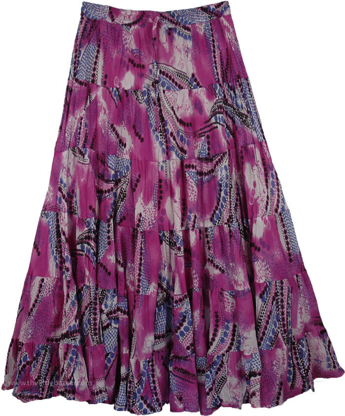 Peasant Skirt in Purple for Summer, Disco Abstract Womens Cotton Skirt