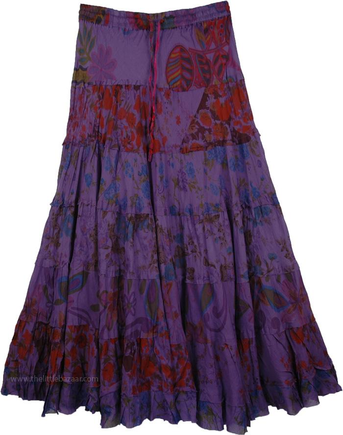 Radiant Violet Floral Print Long Skirt, Smoky Affair Peasant Layered Skirt