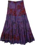 Radiant Violet Floral Print Long Skirt [4275]