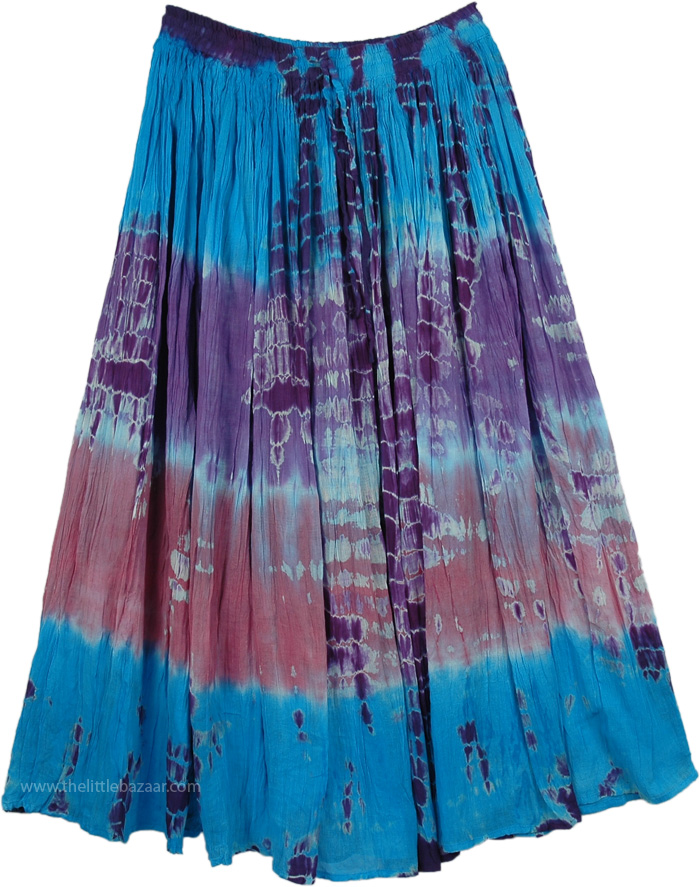 Tie Dye Blue Pink Purple Long Skirt, Shasta Tie Dye Everyday Skirt