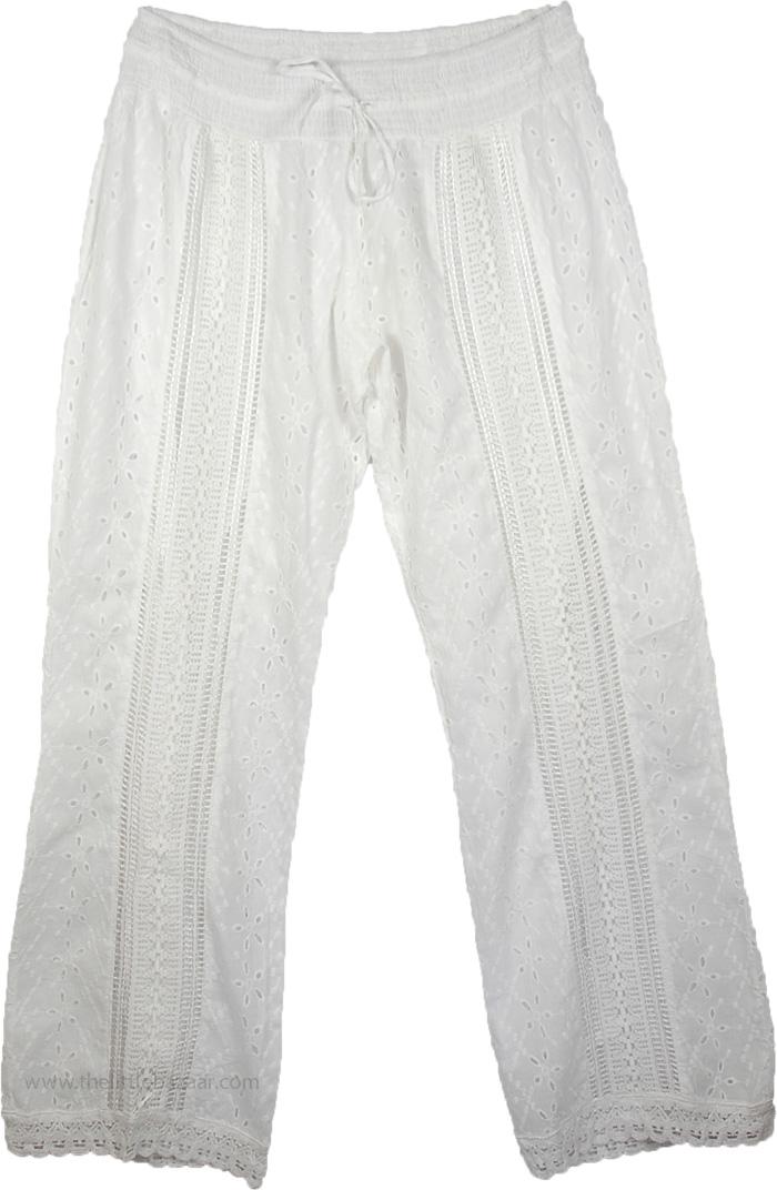 Cotton Eyelet White Pant, Eyelet Lace White Womens Pant