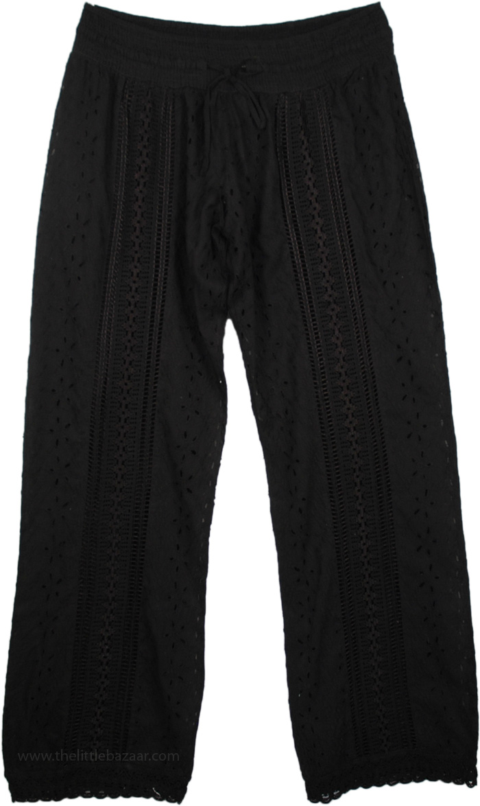 Cotton Eyelet Black Pant, Eyelet Lace Midnight Womens Pant