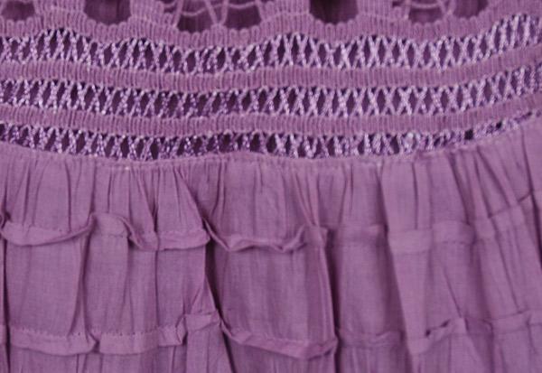 Old Lavender Foldover-Waist Long Skirt