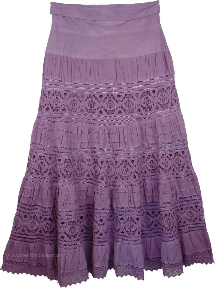 Maxi Purple Long Skirt with Yoga Waistband, Old Lavender Foldover-Waist Long Skirt