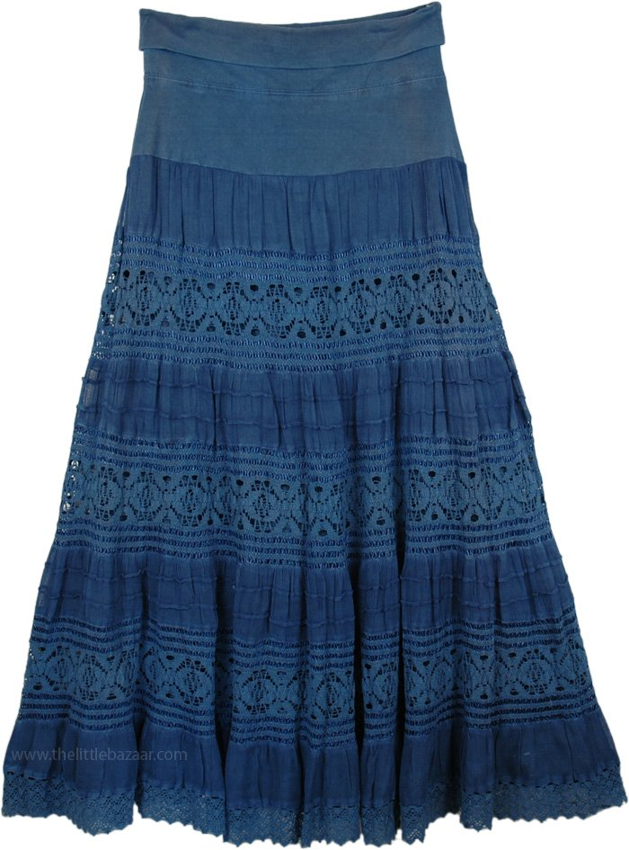 Maxi Blue Long Skirt with Yoga Waistband, Chambray Foldover-Waist Long Skirt