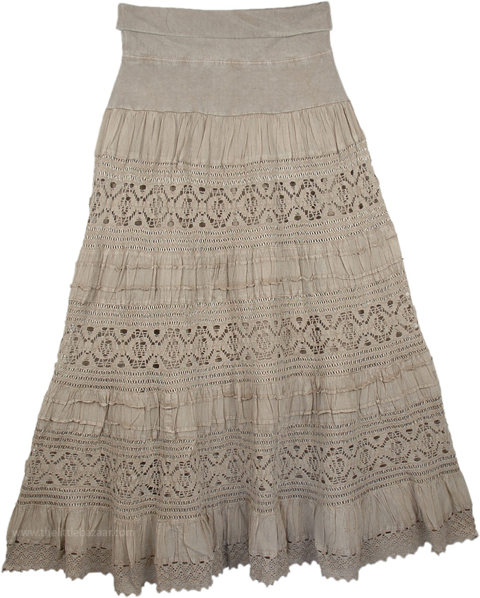 Maxi Brown  Long Skirt with Yoga Waistband, Hillary Foldover-Waist Long Skirt