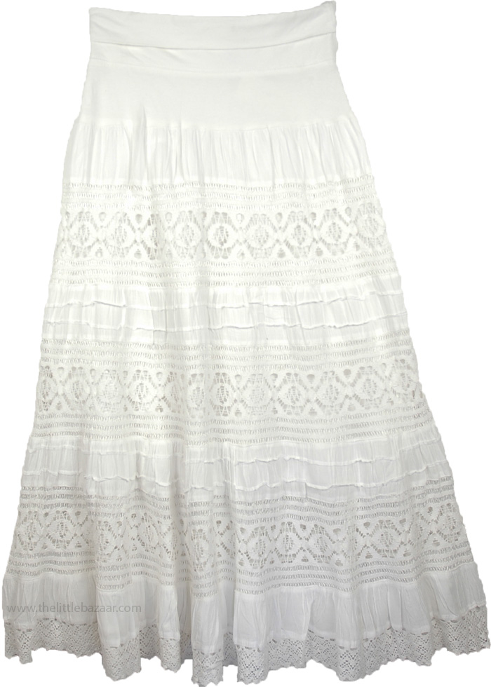 Maxi White Long Skirt with Yoga Waistband, Cararra Foldover-Waist Long Skirt