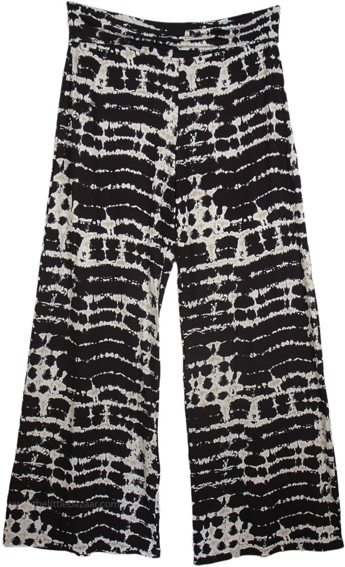 Palazzo Pants in Rayon Lounge Classic, Yoga Pants with Tie Dye Print Fold Over Waist