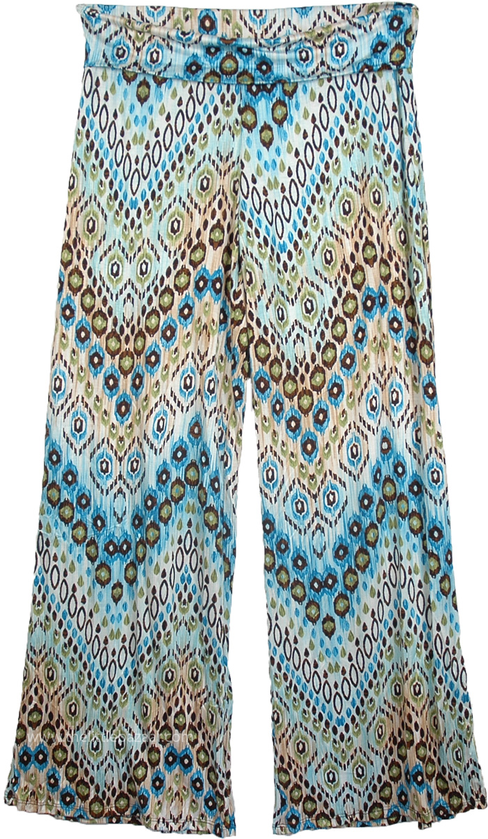 Palazzo Pants in Blue Lounge Classic, Yoga Pants Blue Printed Fold Over Waist