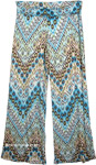 Yoga Pants Blue Printed Fold Over Waist