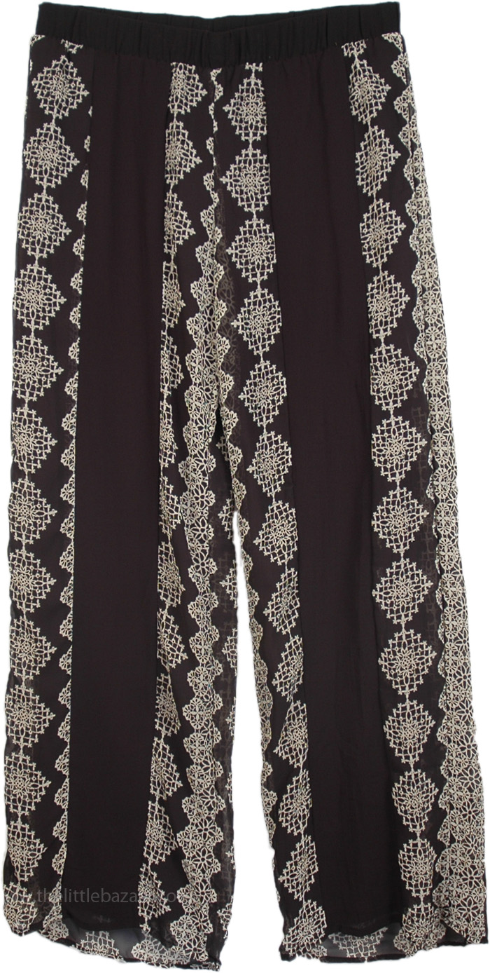Womens Palazzo Pants in Black with Print, Black Soft Printed Palazzo Comfy Pants