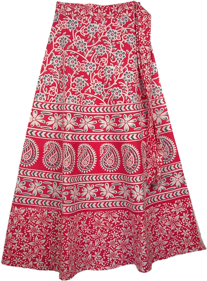 Dark Pink Fiesta Long Skirt, Mandy Pink Womens Wrap Skirt
