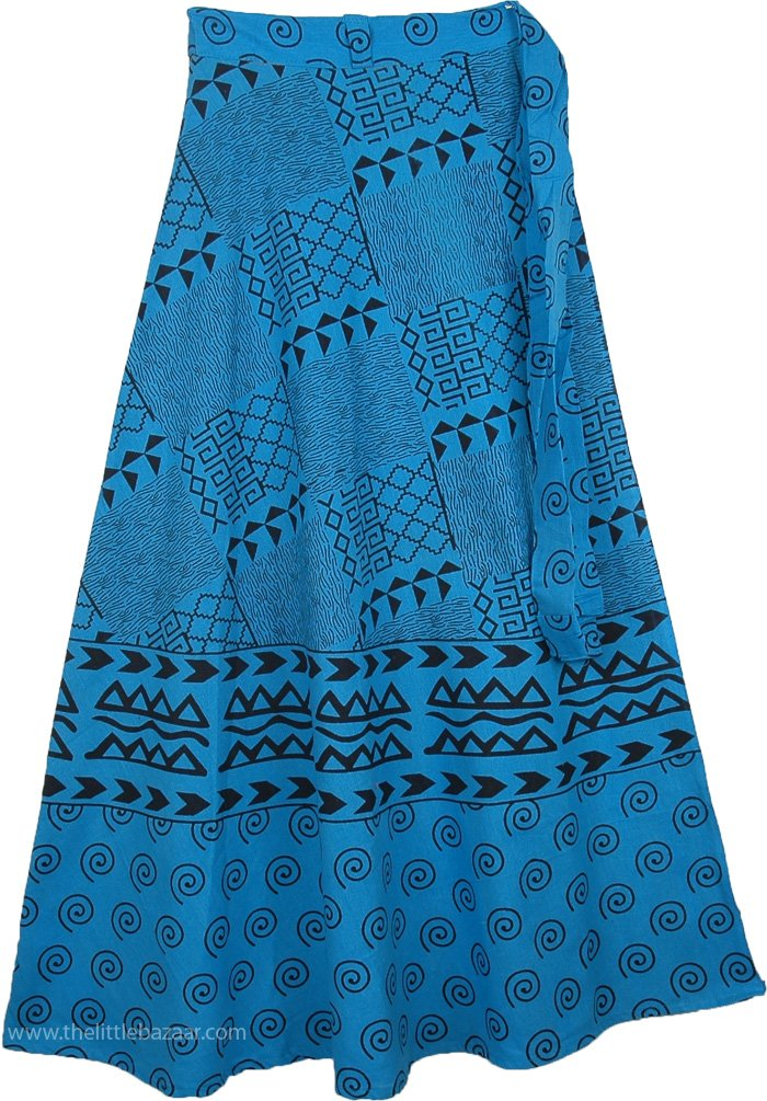 Indian Cotton Long Blue Skirt With Ethnic Print, Azteca Blue Long Wrap Around Skirt
