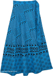 Indian Cotton Long Blue Skirt With Ethnic Print [4294]