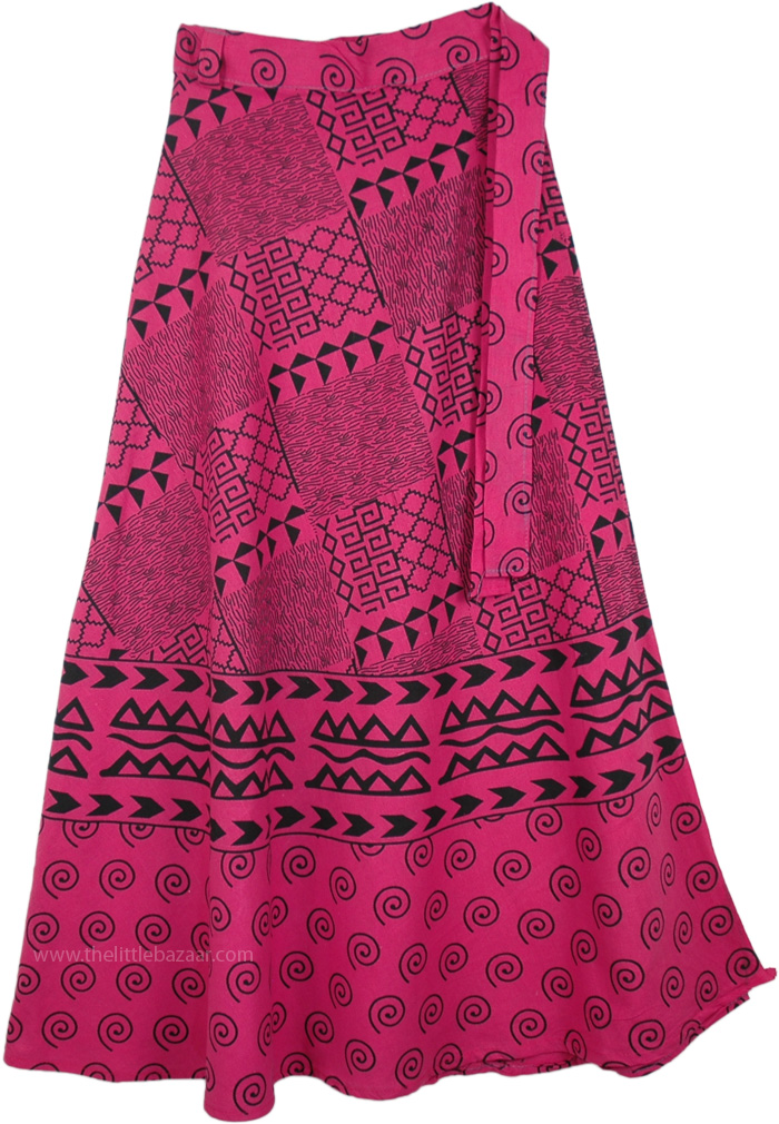 Indian Cotton Long Pink Skirt With Ethnic Print, Hibiscus Pink Long Wrap Around Skirt