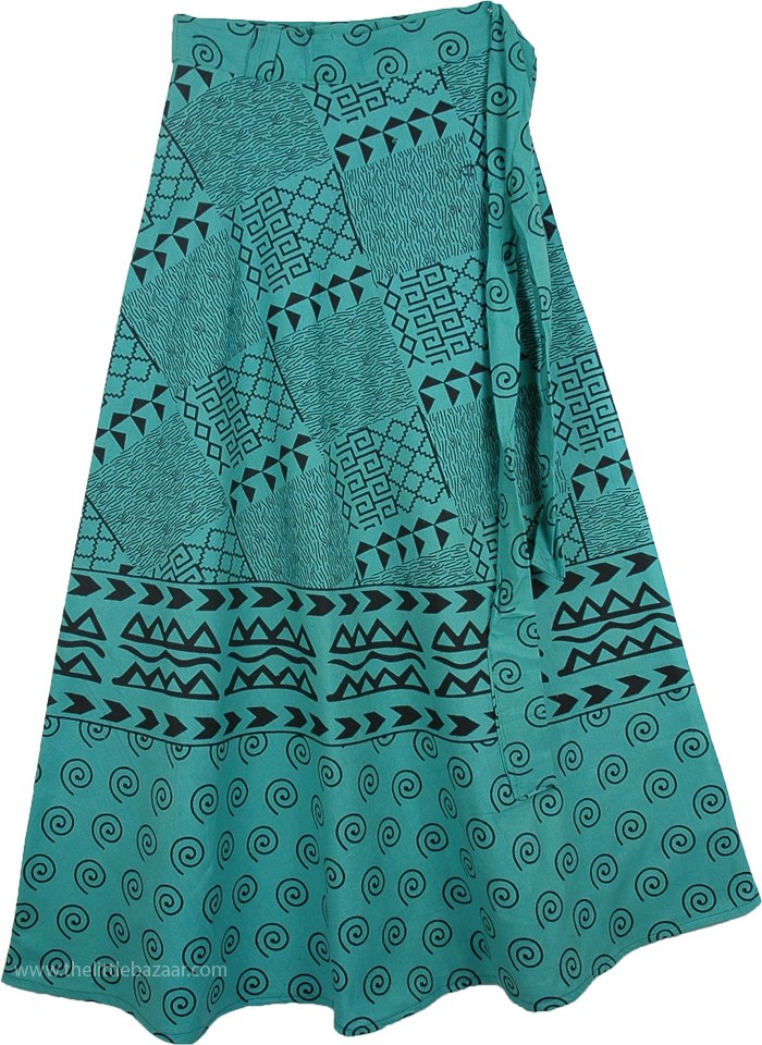 09c51fd75 Indian Cotton Long Green Skirt With Ethnic Print, Jungle Green Long Wrap  Around Skirt