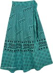 Indian Cotton Long Green Skirt With Ethnic Print [4297]
