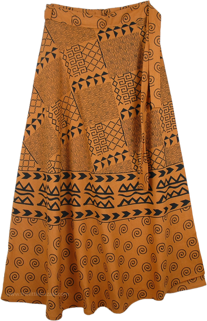 Mother Earth Natural Skirt With Ethnic Print, Natural Earth Long Wrap Around Skirt