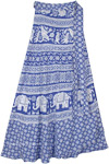 Persian Blue Wrap Around Cotton Skirt with Ethnic Print