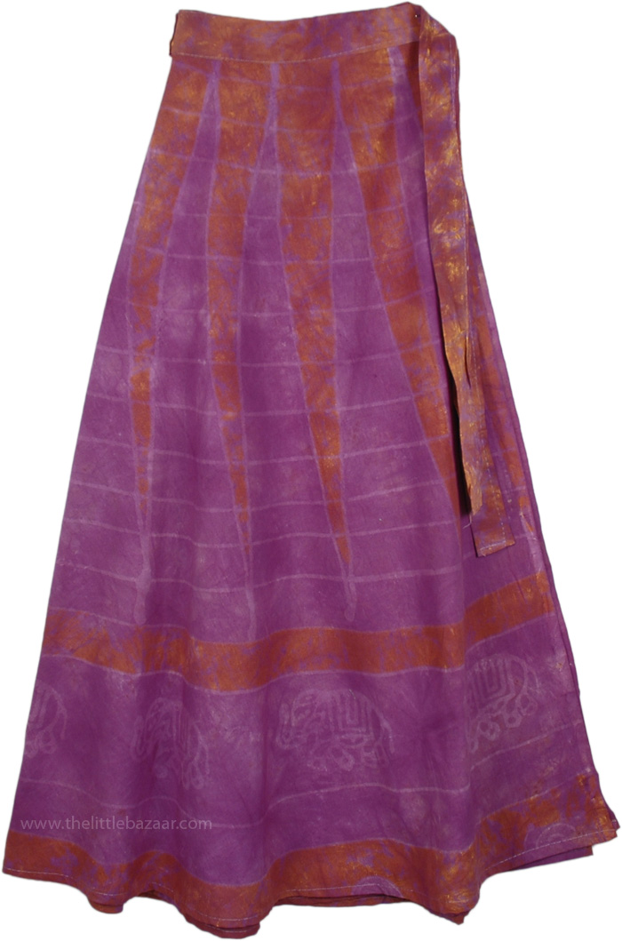 Purple Magic Cotton Wrap Around Skirt, Plum Purple Haze Wrap Skirt