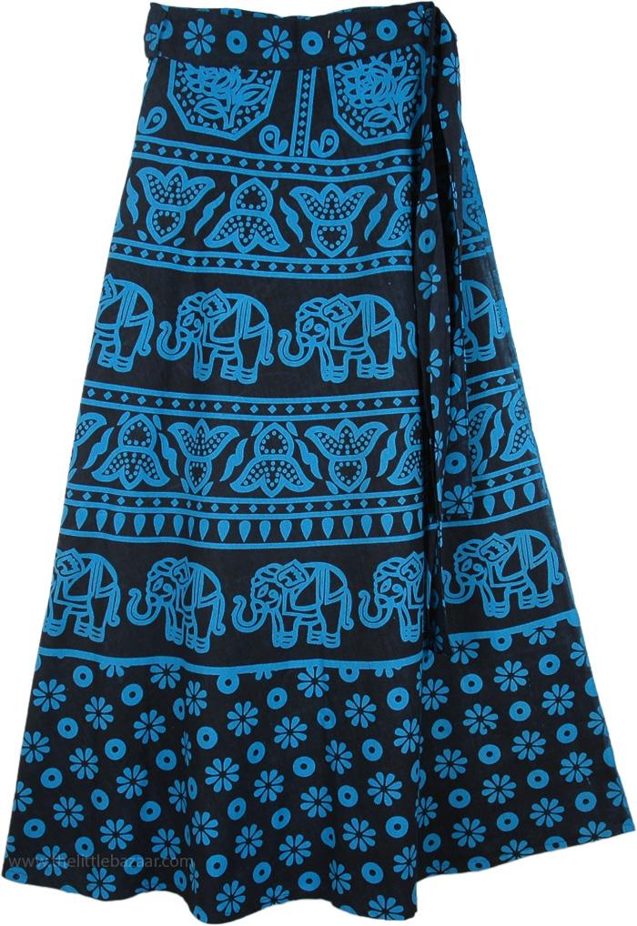 Blue Print Tie Around Skirt, Blue Bayoux Long Tie Around Skirt