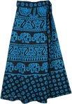 Blue Print Tie Around Skirt [4306]