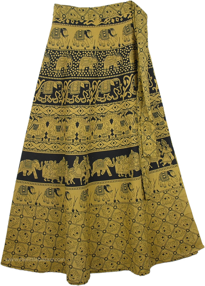 Turmeric Long Skirt With Ethnic Print, Lemon Ginger Long Wrap Skirt