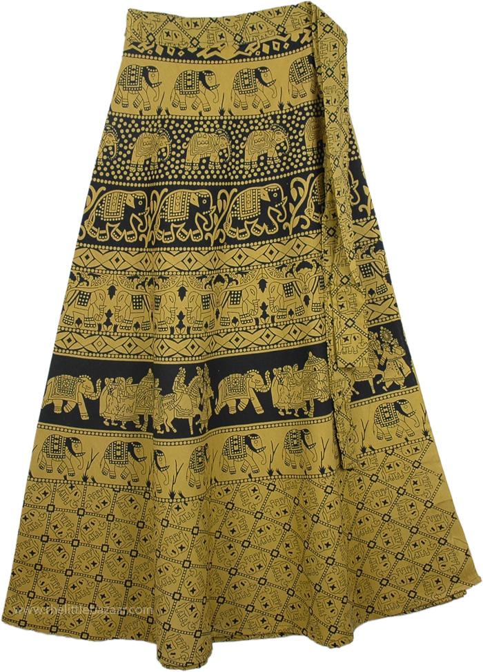 Turmeric Long Skirt With Ethnic Print, Lemon Ginger Long Wrap Skirt