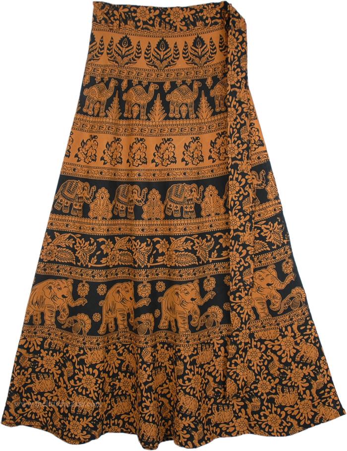 Light Brown Wrap Around Skirt, Mai Tai Brown Black Skirt