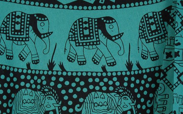 Faded Jade Elephant Parade Wrap Long Cotton Skirt